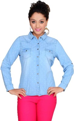 Soul River Women's Printed Casual Blue Shirt