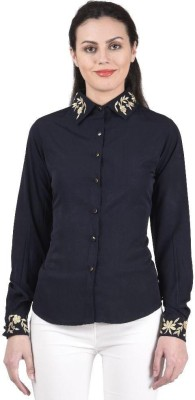 Beautic Women,s, Girl's Solid Casual, Party Blue Shirt