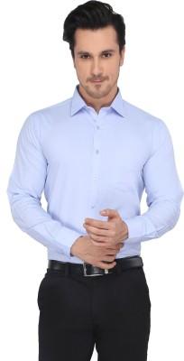 Devaa Men's Solid Formal Blue Shirt