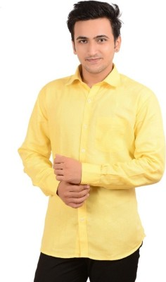 Rank Men's Solid Casual Yellow Shirt