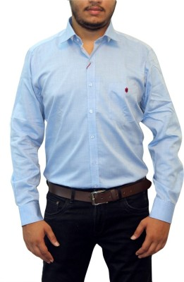 Real Value Men's Solid Casual Blue Shirt