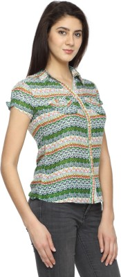 Texco Garments Women's Printed Casual Green Shirt