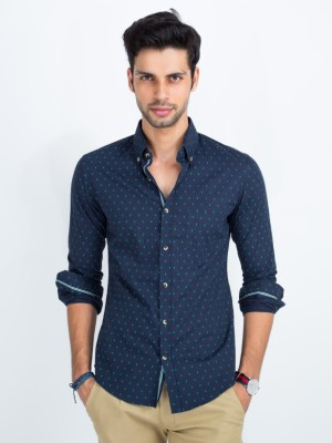 Mr Button Men's Printed Casual Blue Shirt