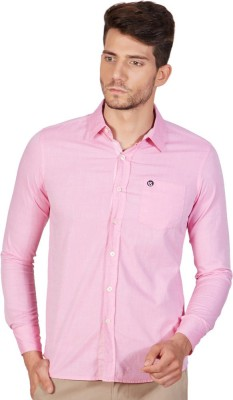 American Swan Men's Solid Casual Pink Shirt