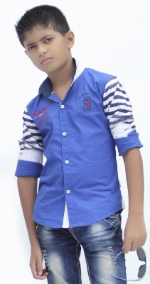 Fingerchips Boys Solid Party Blue, White Shirt