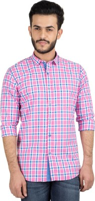 British Club Men's Checkered Casual Pink, Blue Shirt
