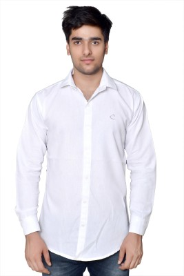 VAPE Men's Solid Casual White Shirt