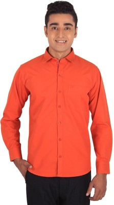 Henry Spark Men's Solid Casual Orange Shirt