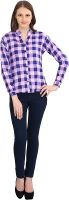 kellan Women's Checkered Casual Purple Shirt