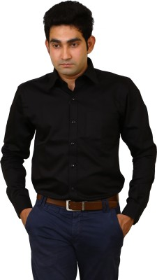 Benzoni Men's Solid Formal Black Shirt