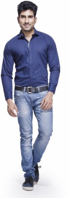 Jads Men's Polka Print Casual Blue, Dark Blue Shirt