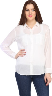 My Addiction Women's Solid Casual White Shirt