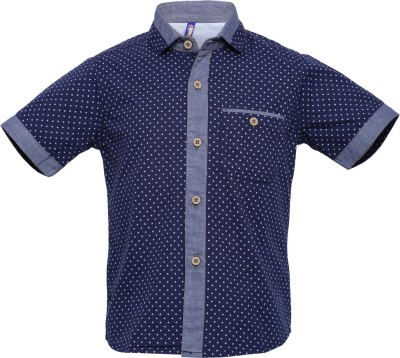 Tickles By Inmark Boy's Polka Print Casual Blue Shirt