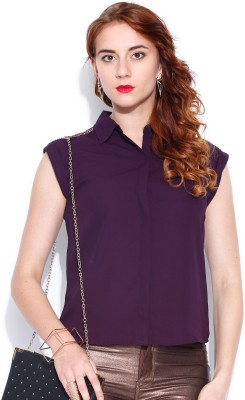 Dressberry Women's Solid Casual Purple Shirt