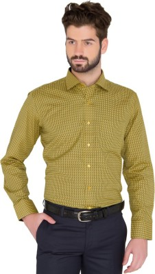 Greenfibre Men's Checkered Formal Yellow Shirt