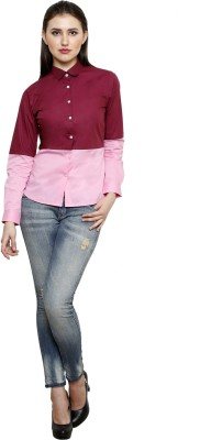 see Designs Women's Solid Casual Pink Shirt