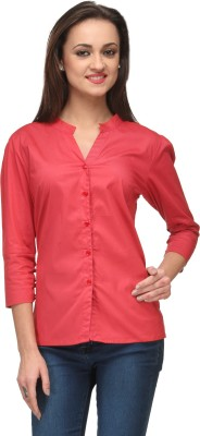Vemero Clothings Women's Solid Formal Red Shirt