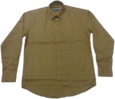 rc Men's Self Design Casual Brown Shirt