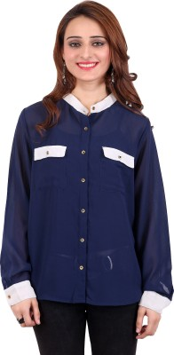 Nagpal Radio Corp Womens Solid Casual Blue Shirt