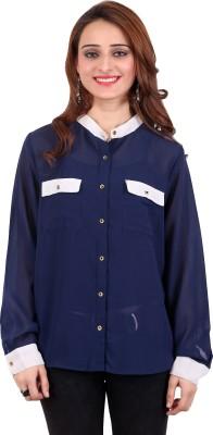 Nagpal Radio Corp Womens Solid Casual Blue Shirt