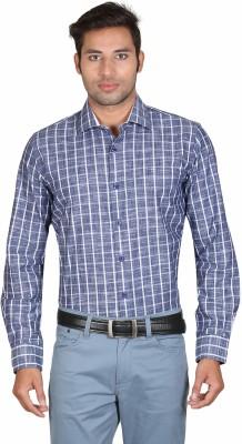 Don Vino Men's Checkered Casual Blue, White Shirt