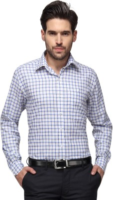 Copperline Men's Checkered Casual White, Blue Shirt