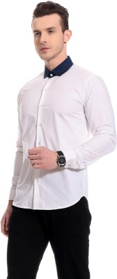 Bolt Men's Solid Casual White Shirt