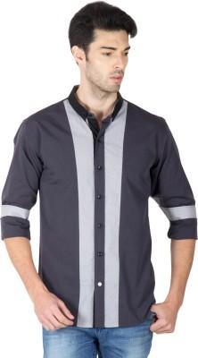 Roar and Growl Men's Solid, Self Design Casual Grey Shirt