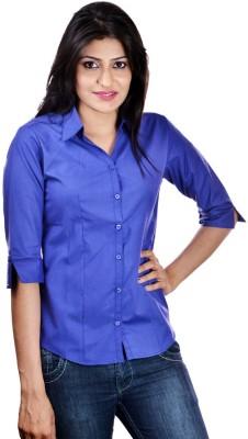 Shop Avenue Women's Solid Casual Dark Blue Shirt