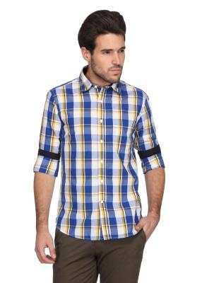 Denimlab Men's Checkered Casual Dark Blue, Yellow Shirt