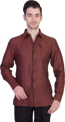 Desam Men's Self Design Party Linen Brown Shirt
