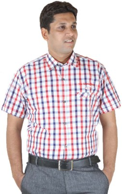Ignu Men's Checkered Casual Red, Blue, White Shirt
