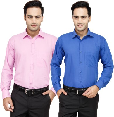 Frankline Men's Solid Formal Multicolor Shirt