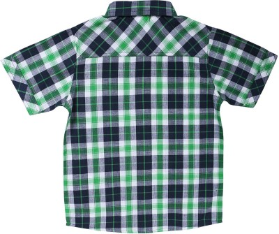 ShopperTree Boy's Checkered Casual Green Shirt