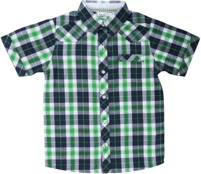 ShopperTree Boys Checkered Casual Green Shirt