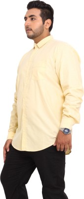 John Pride Men's Solid Casual Yellow Shirt