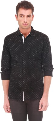 Sleek Line Men's Printed Casual, Party, Festive, Wedding Black Shirt