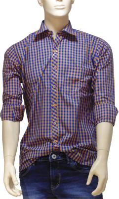 EXIN Fashion Men's Checkered Formal Orange, Blue Shirt