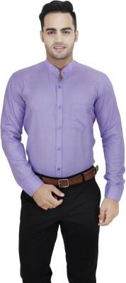 LEAF Men's Solid Formal Purple Shirt