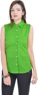 Fantasy Ika Women's Solid Casual Green Shirt