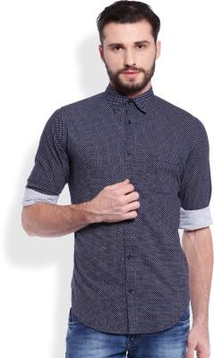 Skie Studio Men's Printed Casual Dark Blue Shirt