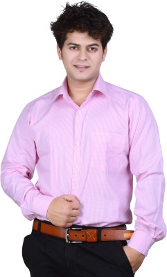 Ishin Designer Studio Men's Checkered Casual Pink Shirt