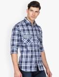 Bolt Men's Checkered Casual Blue Shirt