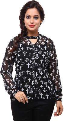 Fbbic Women's Printed Casual Black Shirt