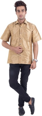 Scot Wilson Men,s Solid Casual Gold Shirt
