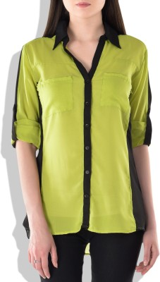 London Off Women's Solid Casual Green Shirt