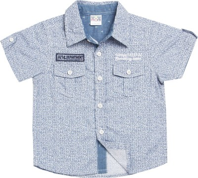 Wow Mom Baby Boy's Checkered Casual Blue Shirt