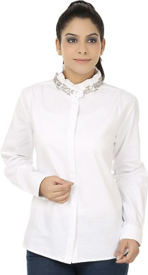 Elmo Women's Solid Casual White Shirt