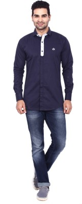Coloroid Men's Solid Casual Dark Blue, Blue Shirt