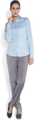 Park Avenue Women,s Solid Formal Grey Shirt